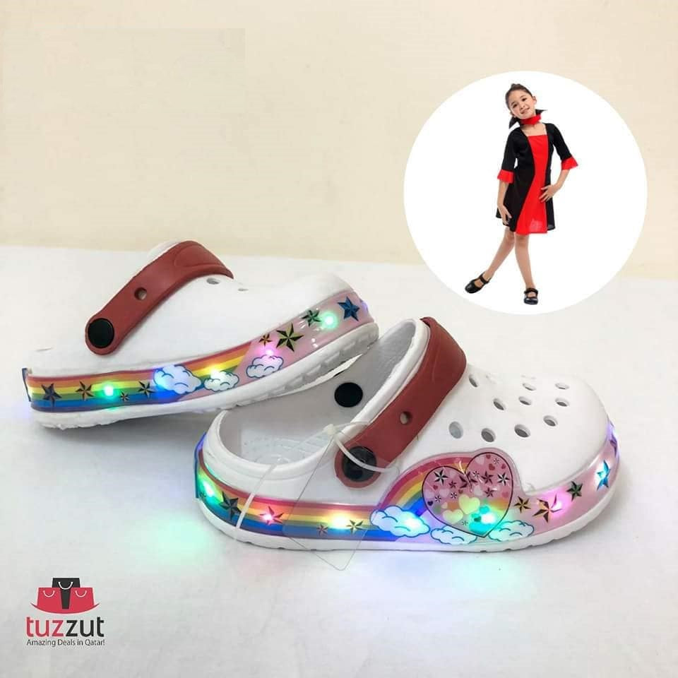 Kids Beach Outdoor Cartoon LED Light Sandals Slippers for Girls - White - TUZZUT Qatar Online Store