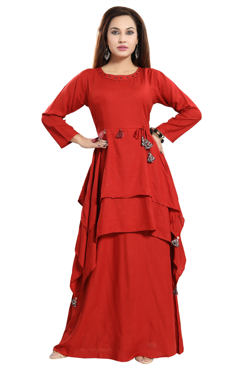 Women Red Layered Solid Maxi Dress - TUZZUT Qatar Online Store