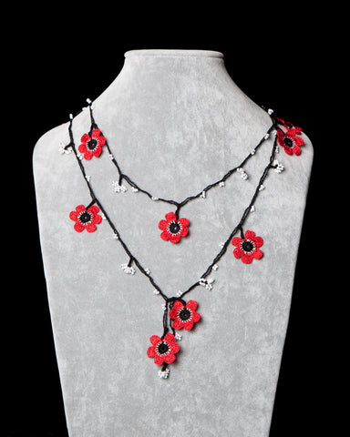 Lariat with Poppy Motif -  Red & Black