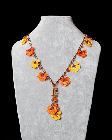Crocheted Necklace with Pomegranate Motif - Orange and Yellow