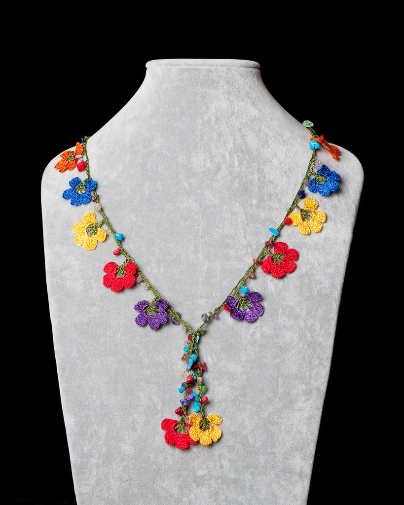 Crocheted Necklace with Pomegranate Motif - Multicolor