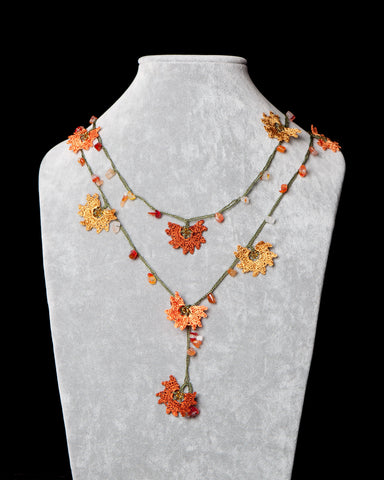 Lariat with Daffodil Motif - Orange and Copper