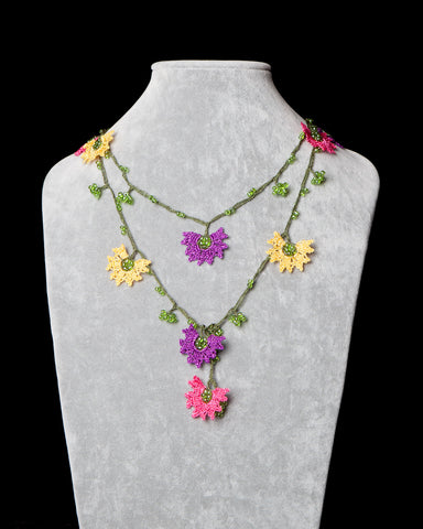 Lariat with Daffodil Motif - Yellow, Purple, Fuschia