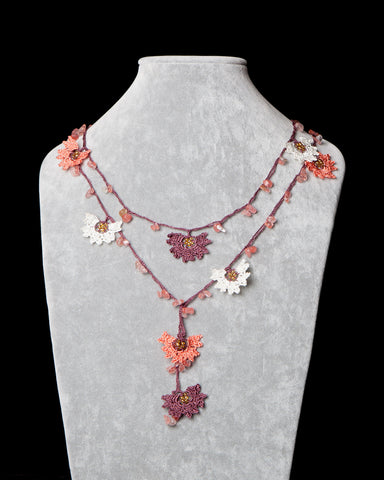 Lariat with Daffodil Motif - Brown and Salmon