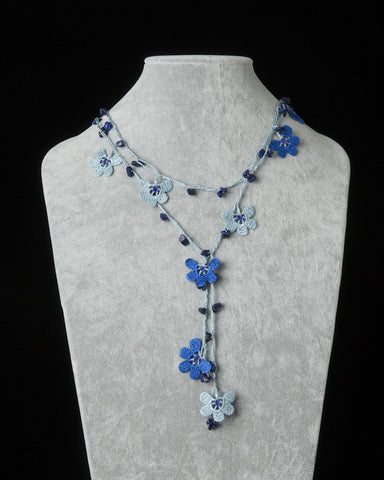 Lariat with Clover Motif -  Indigo & Ice Blue