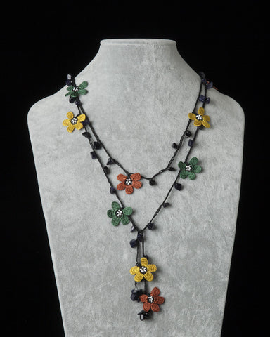 Lariat with Clover Motif -  Burnt Orange, Gold & Forest Green