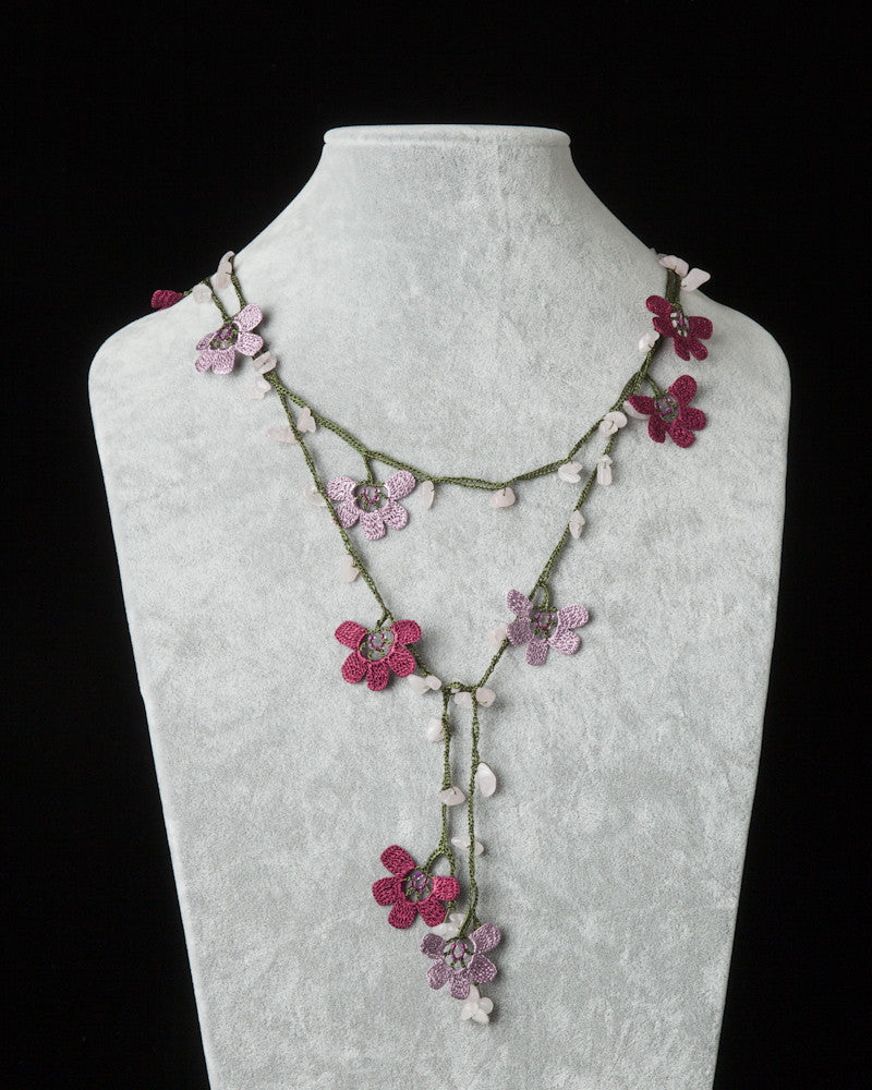 Lariat with Clover Motif -  Lilac & Cherry Pink