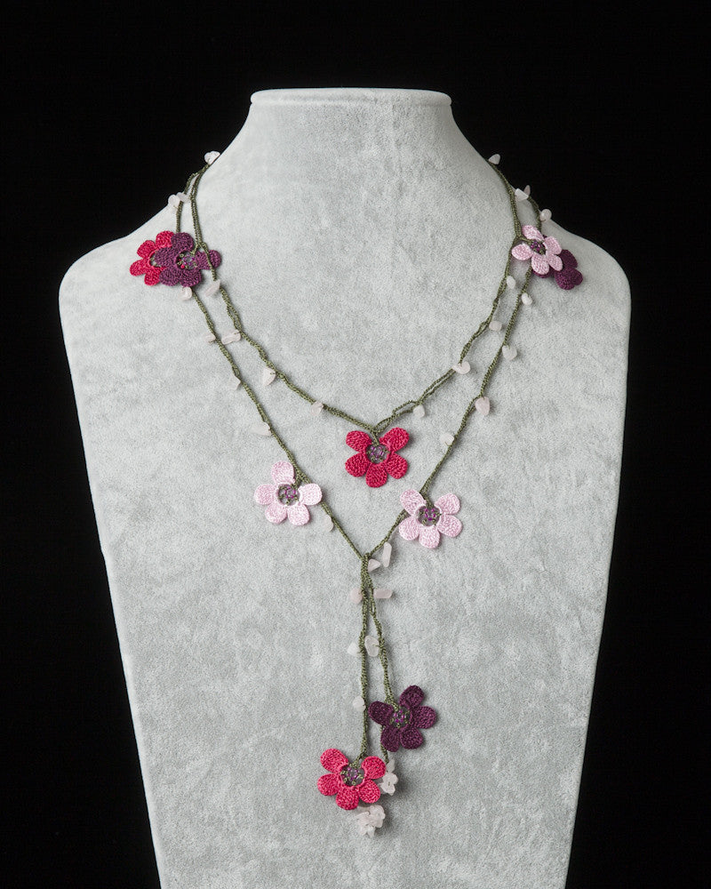 Lariat with Clover Motif - Pink, Cherry & Fuschia