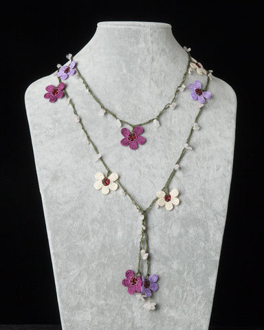 Lariat with Clover Motif - Lilac, Beige & Plum
