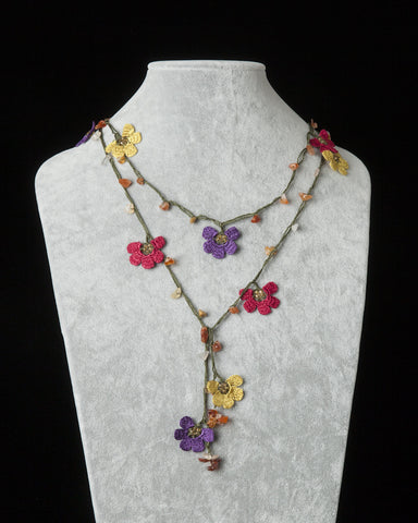 Lariat with Clover Motif - Purple, Gold & Burgundy