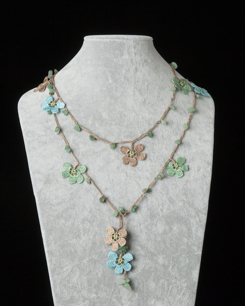 Lariat with Clover Motif - Brown, Green & Blue