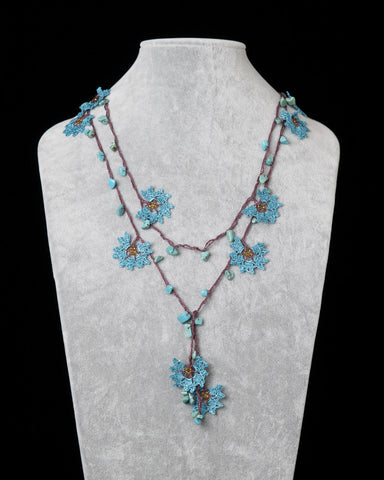 Lariat with Daffodil Motif - Petrol Blue