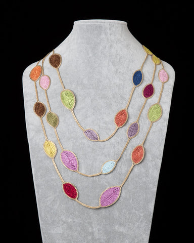 Oval Leaf Necklace - Multicolor