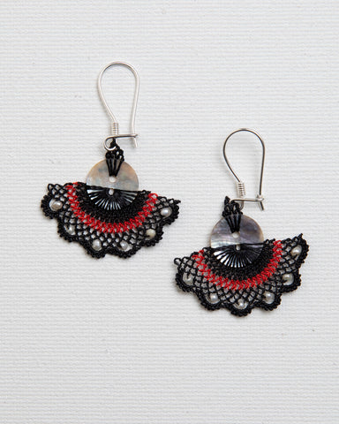 Needle Lace Fan Earrings