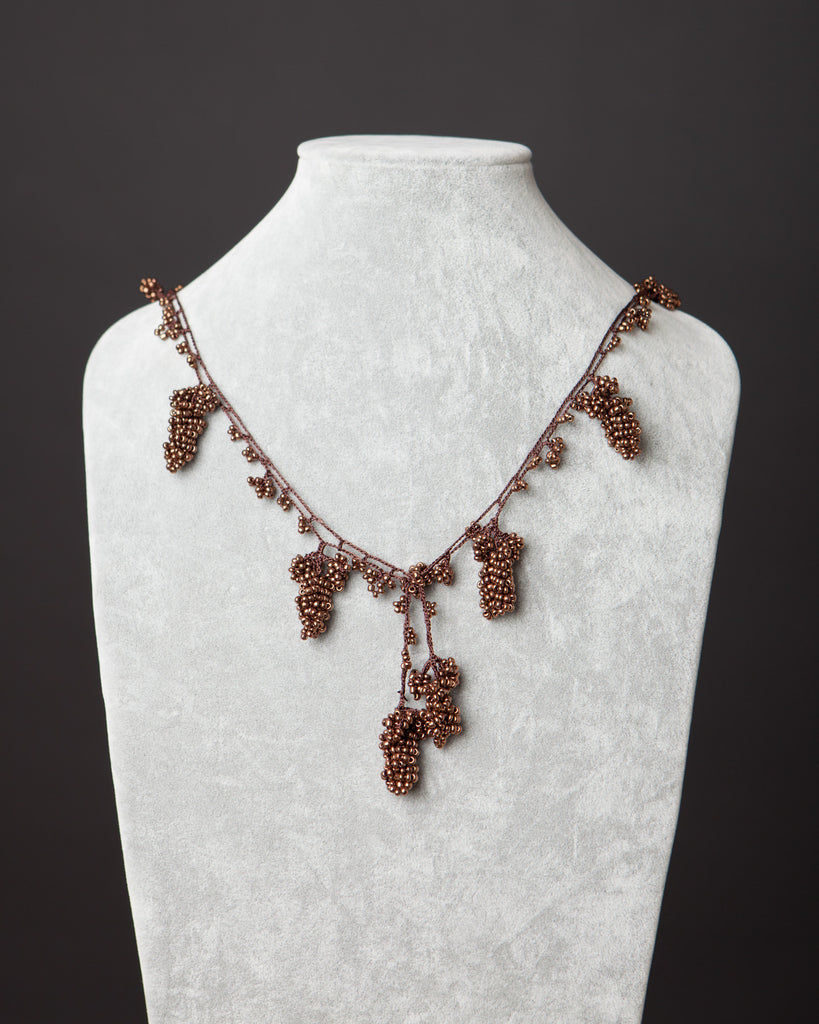 Beaded Necklace with Grape Motif - Copper