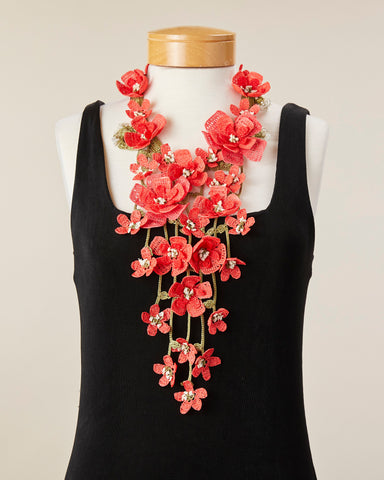 Poppy Necklace - Coral