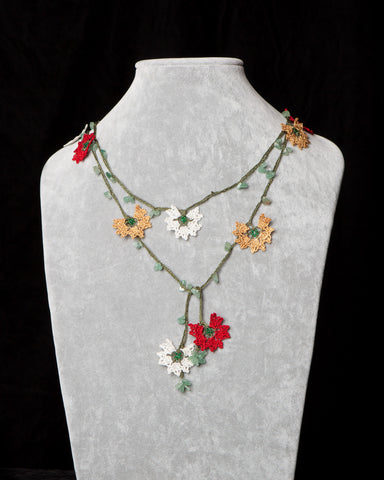 Lariat with Daffodil Motif - Burgundy and Yellow