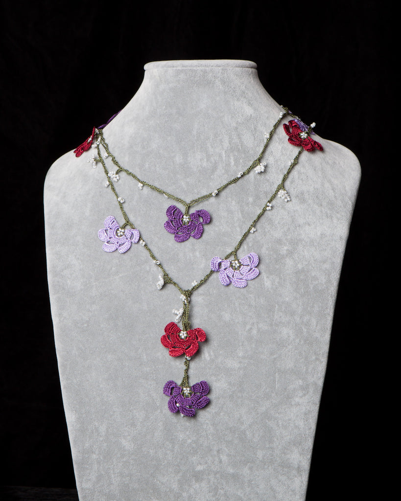 Lariat with Fan Motif -  Burgundy, Lilac and Purple