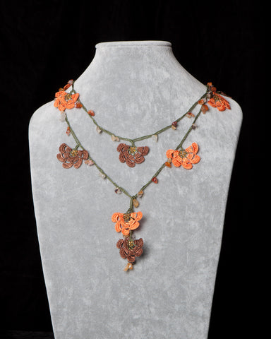 Lariat with Fan Motif -  Orange and Brown