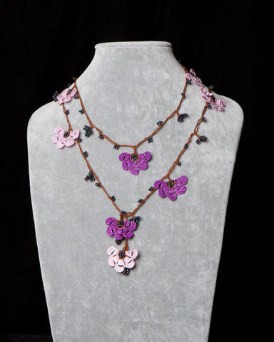 Lariat with Fan Motif -  Pink and Purple