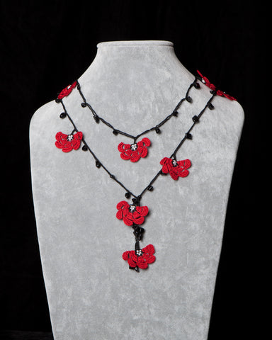 Lariat with Fan Motif -  Red