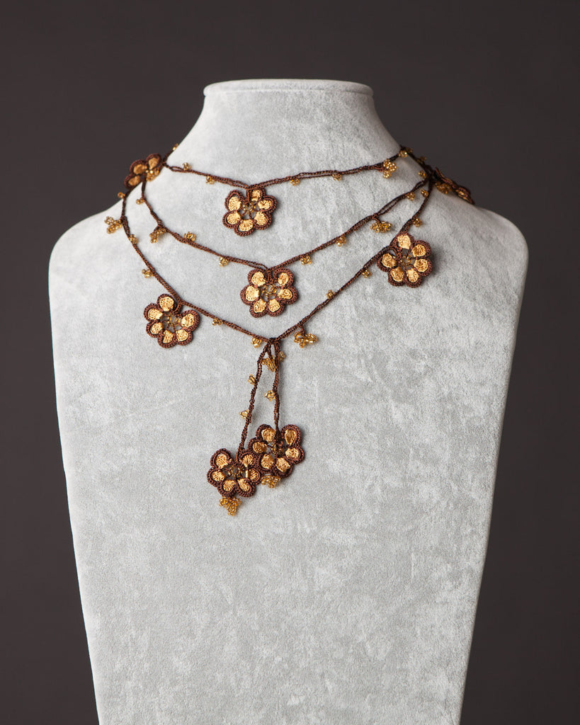 Lariat with Petunia Motif - Gold and Brown