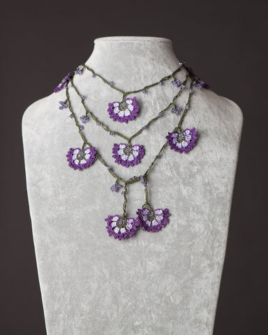 Lariat with Cornflower Motif - Lilac and Purple