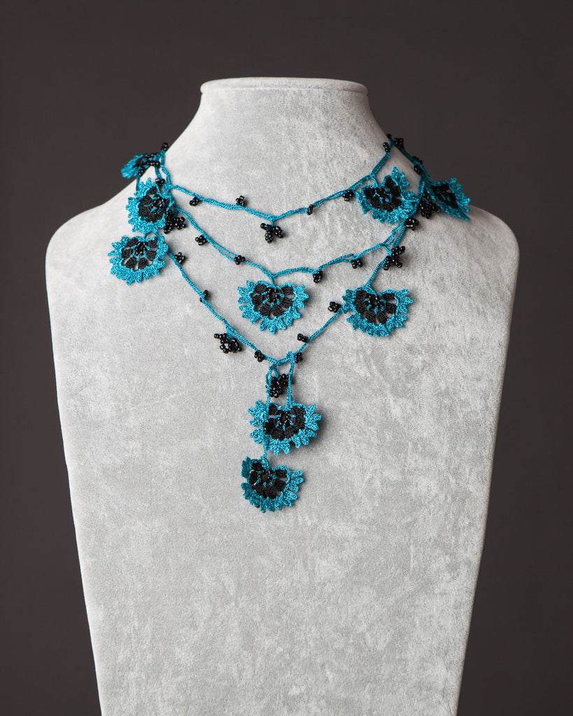 Lariat with Cornflower Motif - Black and Blue