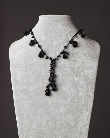 Beaded Necklace with Berry Motif - Black
