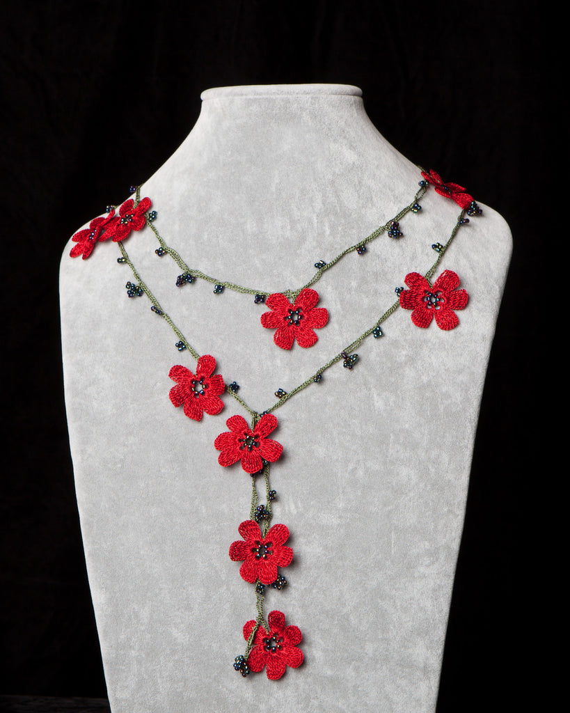 Lariat with Pomegranate Flowers - Red