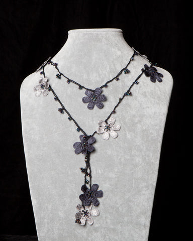 Lariat with Pomegranate Flowers - Charcoal and Silver