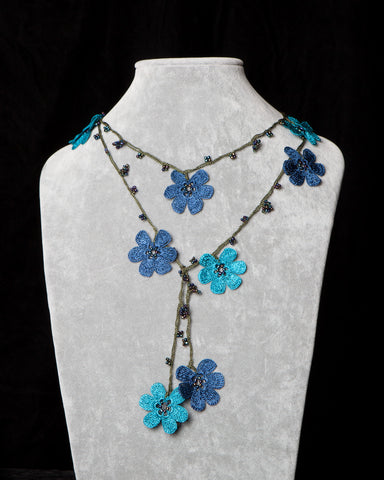 Lariat with Pomegranate Flowers - Teal and Blue