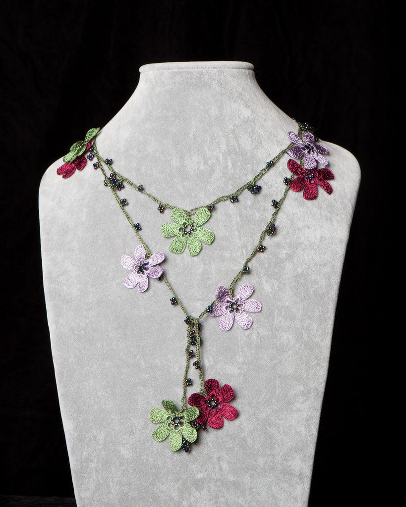 Lariat with Pomegranate Flowers - Lilac, Burgundy