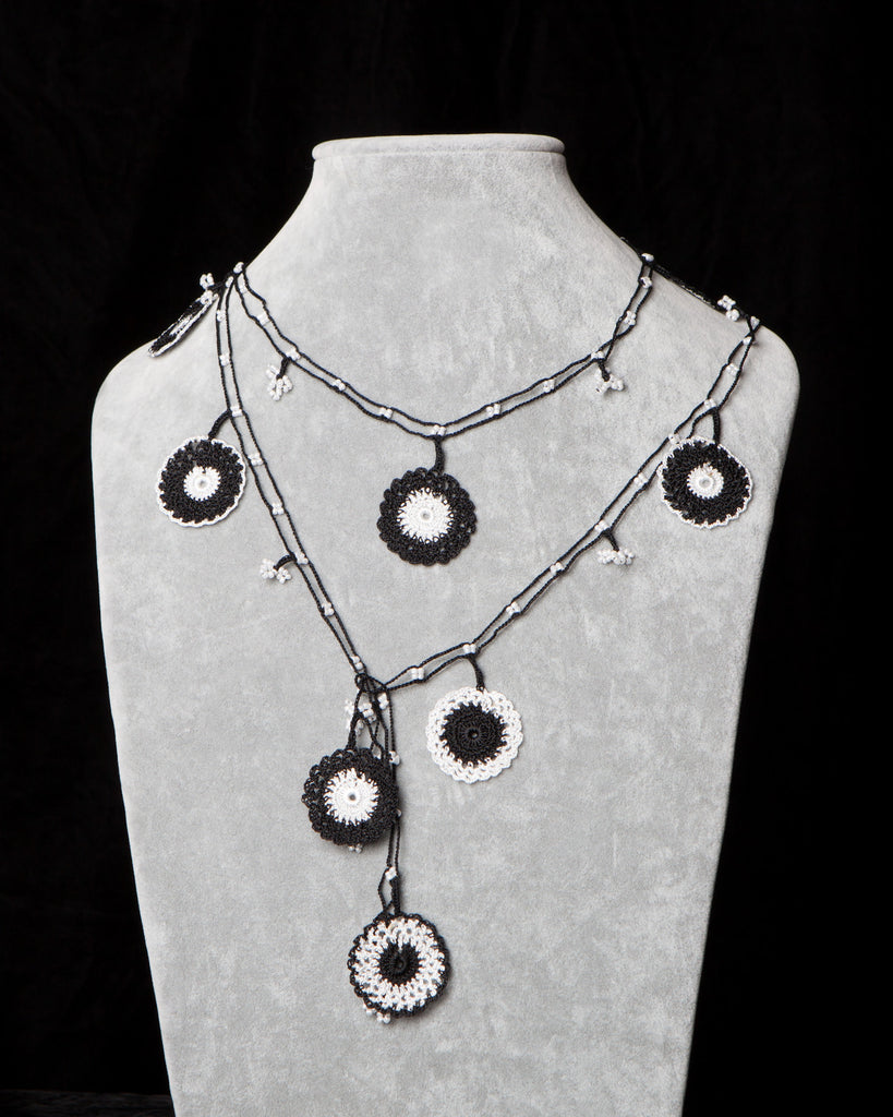 Lariat with Circle Motif -  Black and White