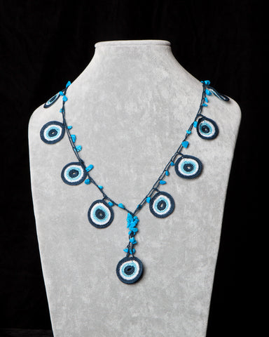 Crochet Necklace with Circle Motif - Evil Eye