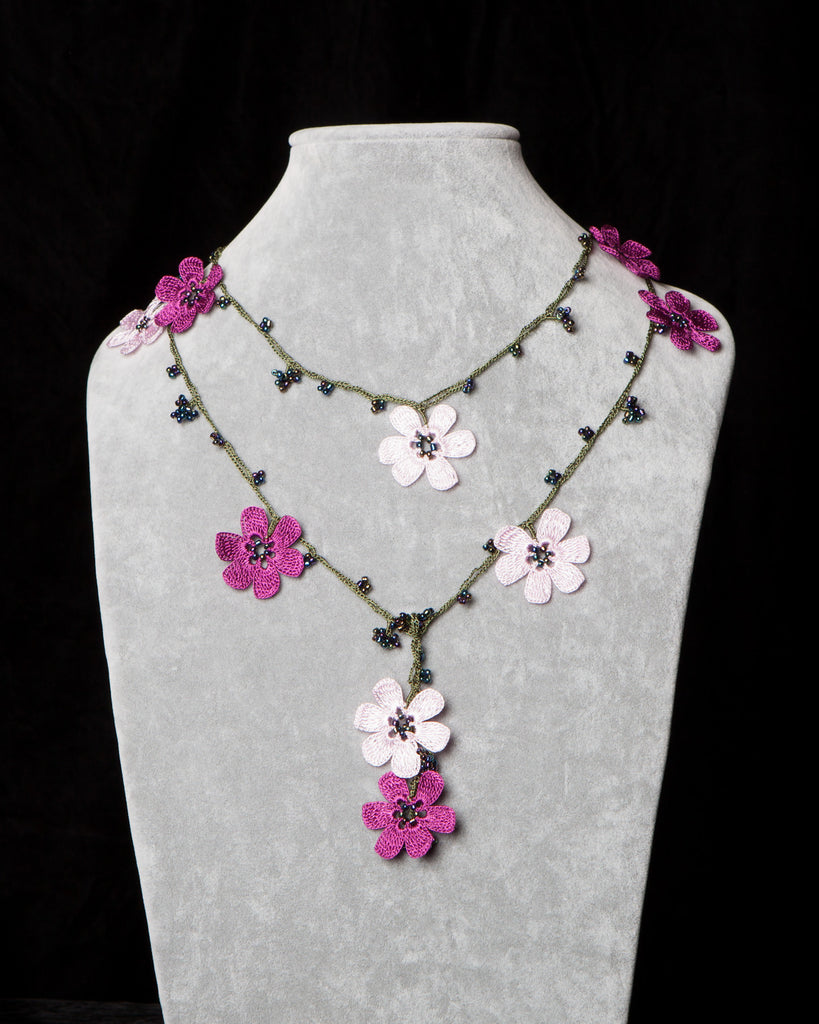 Lariat with Pomegranate Flowers - Pink and Fuchsia