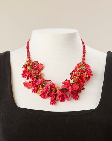 Bouquet Choker - Red, Orange & Gold
