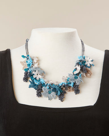 Bouquet Choker - Teal, Turquoise & Beige