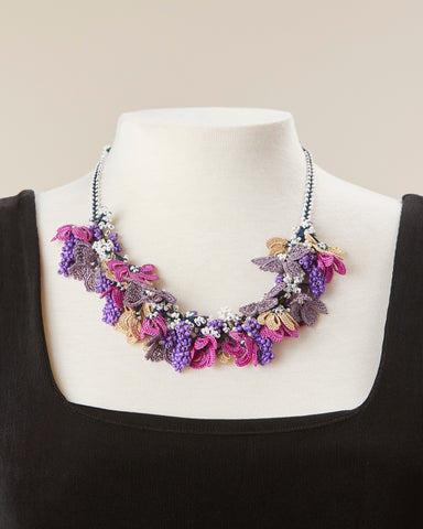 Bouquet Choker - Purple, Magenta & Beige