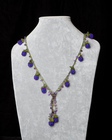 Beaded Necklace with Berry Motif - Purple