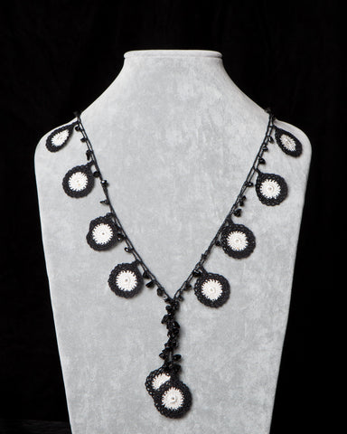 Crocheted Necklace with Circle Motif - Black and White