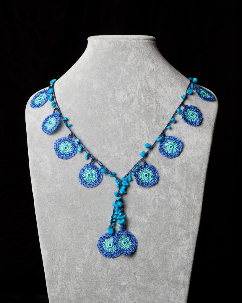 Crocheted Necklace with Circle Motif - Blue and Turquoise