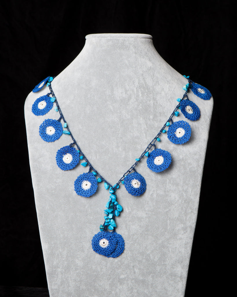 Crocheted Necklace with Circle Motif - Blue and White