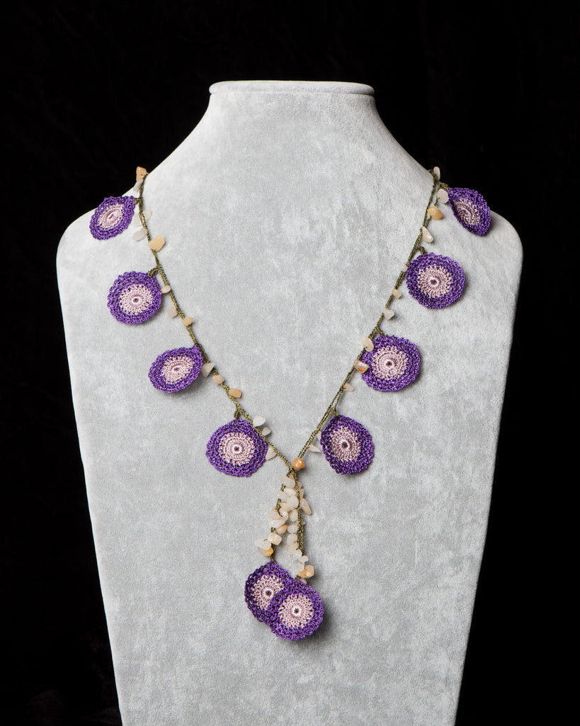 Crocheted Necklace with Circle Motif - Purple and Taupe