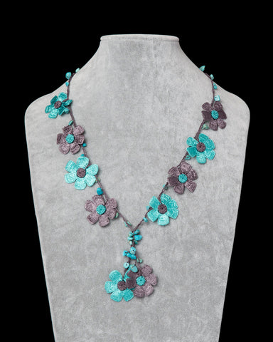 Crocheted Necklace with Daisy Motif - Aqua & Grey