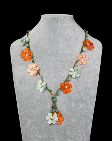 Crocheted Necklace with Daisy Motif - Burnt Orange, Green & Salmon