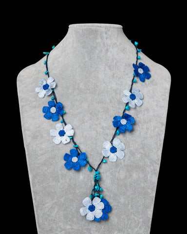 Crocheted Necklace with Daisy Motif - Indigo & Ice Blue