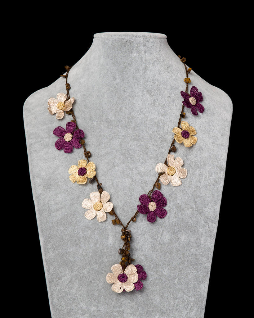 Crocheted Necklace with Daisy Motif - Plum & Beige