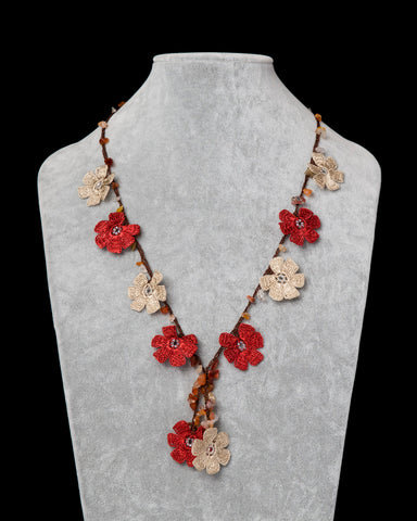Crocheted Necklace with Daisy Motif - Brick Red & Beige