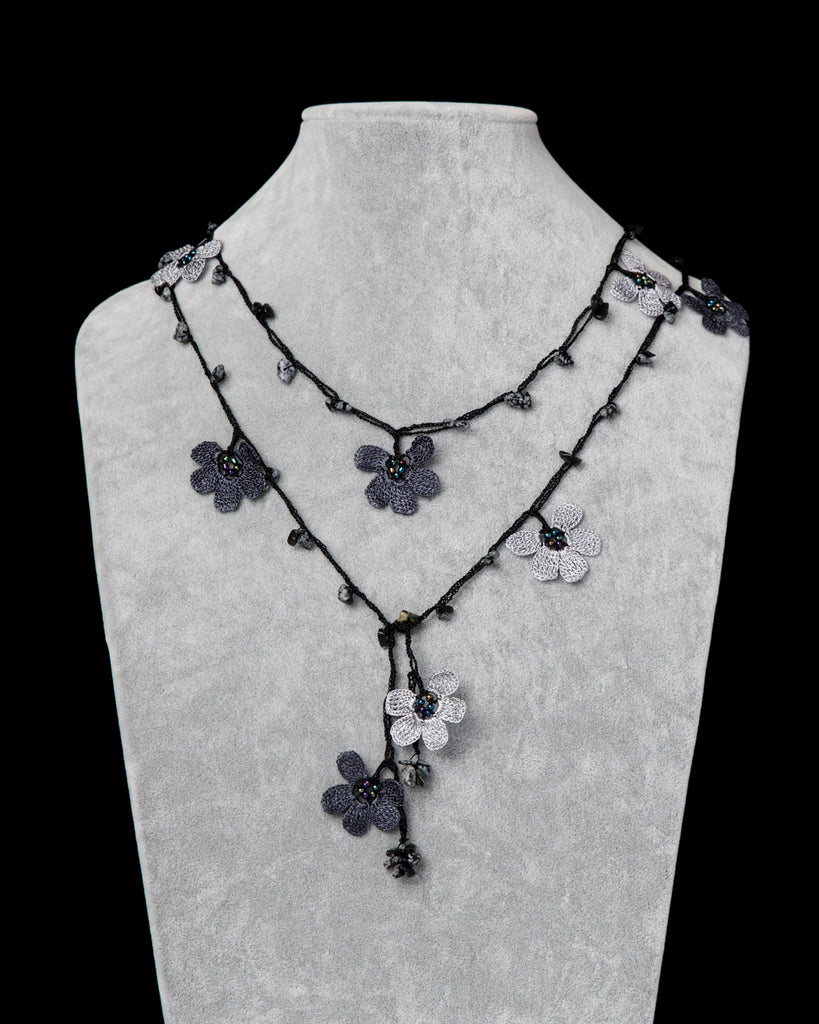 Lariat with Clover Motif -  Charcoal Grey
